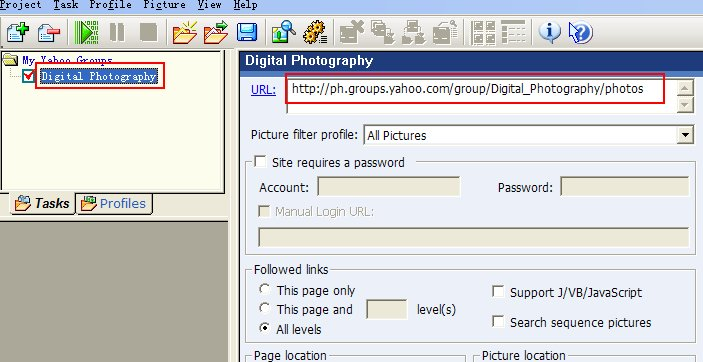 Enter yahoo group URL to task